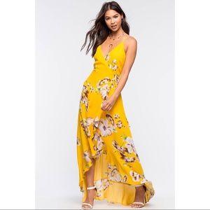 A'gaci Asami Floral Wrap Maxi, Yellow, Sz M